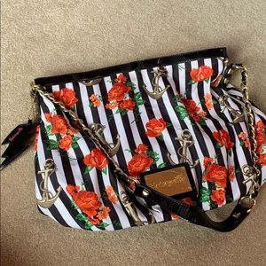 Betsey Johnson stripe floral anchor tote bag